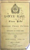Lower hall  Class list for English prose fiction