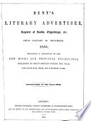 Bent s Literary Advertiser and Register of Engravings  Works on the Fine Arts