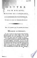Lettre de M  Roland  ministre de l int  rieur     l Assembl  e nationale    Paris  le 3 septembre 1792