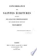 Concordance des Saintes-Écritures, précédées des analyses chronol. de l'A. et du N. T.