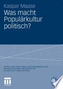 Was macht Popul  rkultur politisch