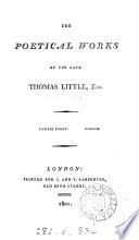 The poetical works of the late Thomas Little  esq Book PDF