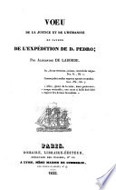 Voeu De La Justice Et De L'Humanite En Faveur De L'Expedition De D. Pedro