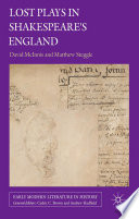Lost Plays in Shakespeare s England