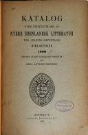 Katalog over erhvervelser af nyere vdenlandsk litteratur ved statens offentlige biblioteker
