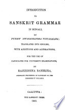 Introduction to Sanskrit grammar in Bengali  tr  with additions by R  Banerjea