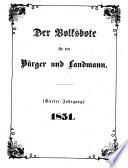 Der Volksbote F R Den B Rger Und Landmann