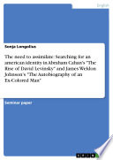 The Need to Assimilate  Searching for an American Identity in Abraham Cahan s  The Rise of David Levinsky  and James Weldon Johnson s  The Autobiography of an Ex Colored Man