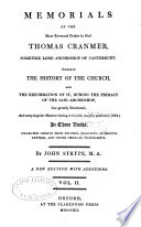 Memorials of the Most Reverend Father in God Thomas Cranmer  Sometime Lord Archbishop of Canterbury