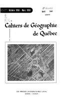 Cahiers De Géographie De Québec : ...