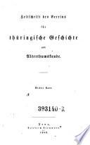 Zeitschrift des Vereines für thüringische Geschichte und Alterthumskunde