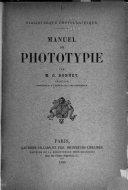 Book Manuel de phototypie