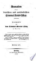 Annalen der deutschen und ausländischen Criminal-Rechtspflege