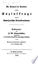 Die Antwort der Reaktion auf die Sozialfrage und der schweizerische Demokratismus