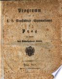 Programm des k.k. Neustädter Gymnasiums zu Prag