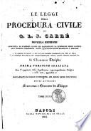 Le leggi della procedura civile di G  J  L  Carr