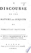 A Discourse On Matt Xxviii 19 20 On The Nature And Subjects Of Christian Baptism