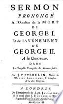 Sermon Pron. À L'occasion de la Mort de George Ier Et de L'avénement de George II