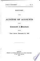 Report of the Auditor of Accounts  of the Commonwealth of Massachusetts  for the Year Ending