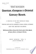 Trubner's American and Oriental Literary Record