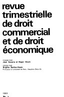 Revue Trimestrielle De Droit Commercial Et De Droit Conomique