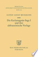 Die Karlamagn  s Saga I und ihre altfranz  sische Vorlage
