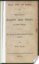 Arien, Lieder und Gesänge des Vaudeville: Canonikus Ignaz Schuster