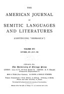 The American Journal of Semitic Languages and Literatures