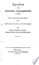Epochen der Griechischen Literaturgeschichte