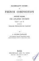 Macmillan s course of French composition  2nd course   With  Teacher s and private student s companion