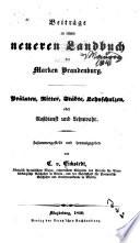 Beiträge zu einem neueren landbuch der marken Brandenburg