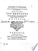 Lezione d ingresso nell Accademia de ricovrati di Padova ove si tratta delle antiche origini della lingua volgare de Padovani e d Italia