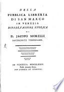 Della publica Libreria di San Marco in Venezia