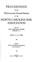 proceedings of the annual meeting of the north carolina bar association