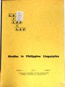 Studies in Philippine Linguistics