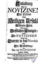 Anlaitung Für die Novizinen Deß Ordens Der Heiligen Ursula