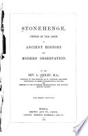 Stonehenge  Viewed by the Light of Ancient History and Modern Observation Book PDF