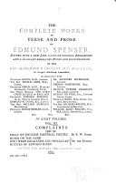 The Complete Works in Verse and Prose of Edmund Spenser  Complaints 1590 91  Essay on English pastoral poetry