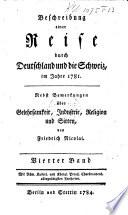 Beschreibung einer Reise durch Deutschland und die Schweiz  1781