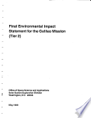 Final environmental impact statement for the Galileo Mission  Tier 2