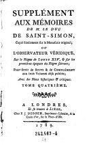 Mémoires, tome IV