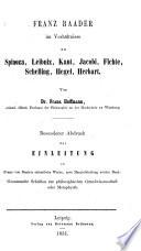 Acht philosophische Abhandlungen über Franz von Baader und seine Werke