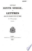 Nouvelle petite guerre ou lettres sur une traduction en vers de l'art poétique d'Horace