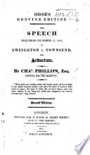 The Speech Delivered     in Creighton V  Townsend  for Seduction  Hone s Genuine Edition