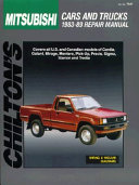 Mitsubishi Cars And Trucks 1983 89 Repair Manual