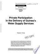 Private Participation In The Delivery Of Guinea S Water Supply Services book