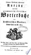 Auszug aus dem grammatischkritischen W  rterbuche der hochdeutschen Mundart