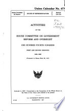 Activities Of The House Committee On Government Reform And Oversight