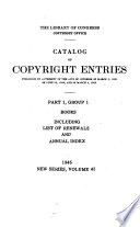 Catalog of Copyright Entries  Third Series