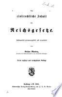 Der civilrechtliche Inhalt der Reichsgesetze